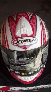 New Motorcycle helmet - Red and white- Symbol- Large