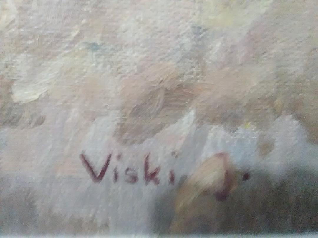 Art work by János Viski, untitled, signed oil painted on board, 23 1/2 x 31 1/3